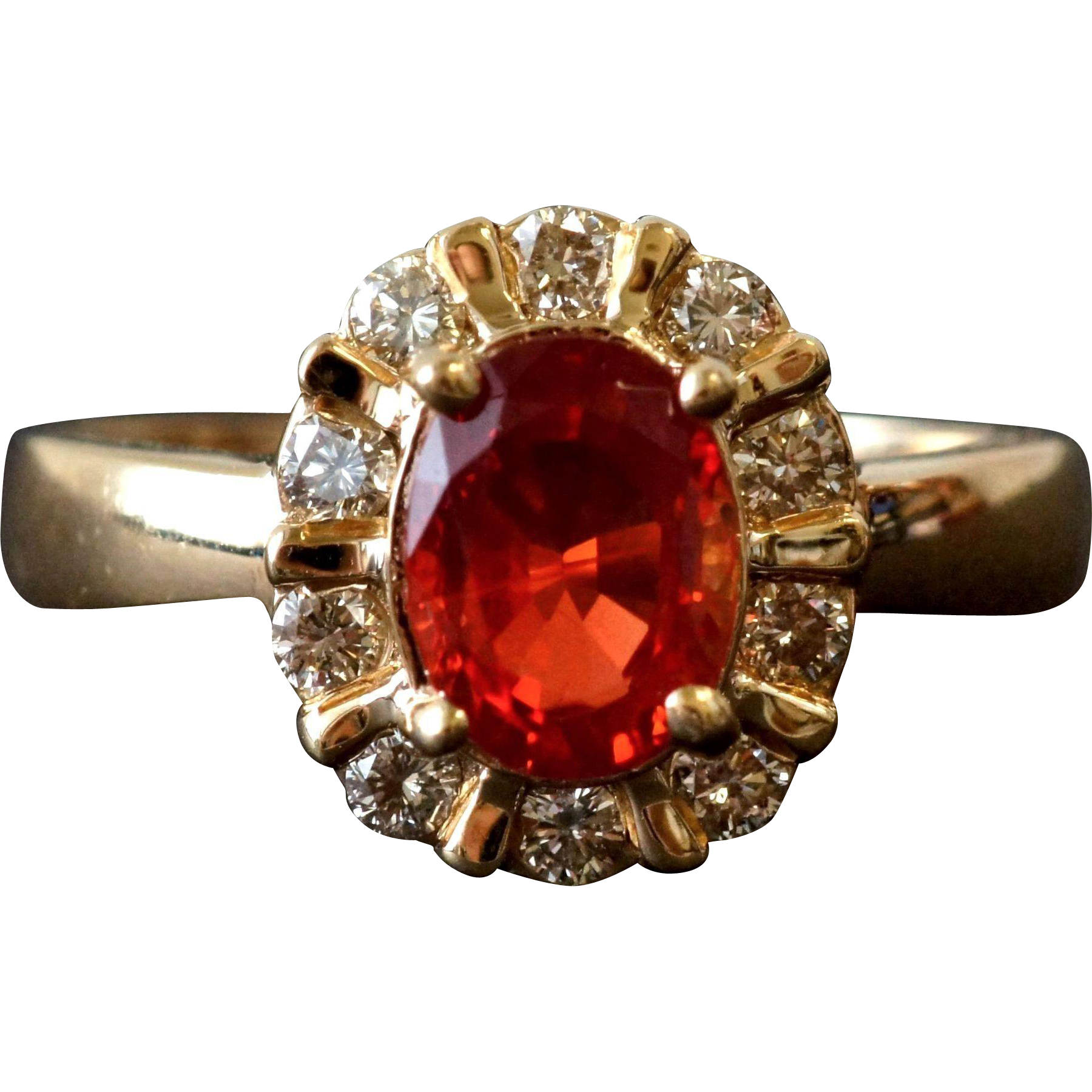 Fun Orange Andesine and Diamond Ring in 14K Gold