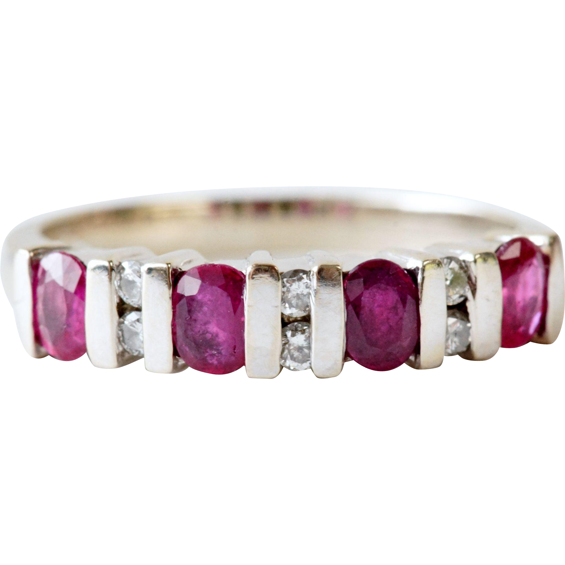 Ruby and Diamond Band in 14K White Gold