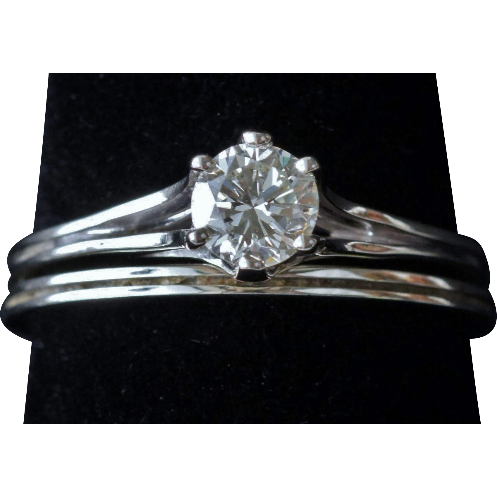 Vintage Wedding Set with .57 Diamond Solitare in 18K