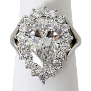 Spectacular 5.62 Carat G VVS1 Pear Shaped Diamond Ring in Platinum