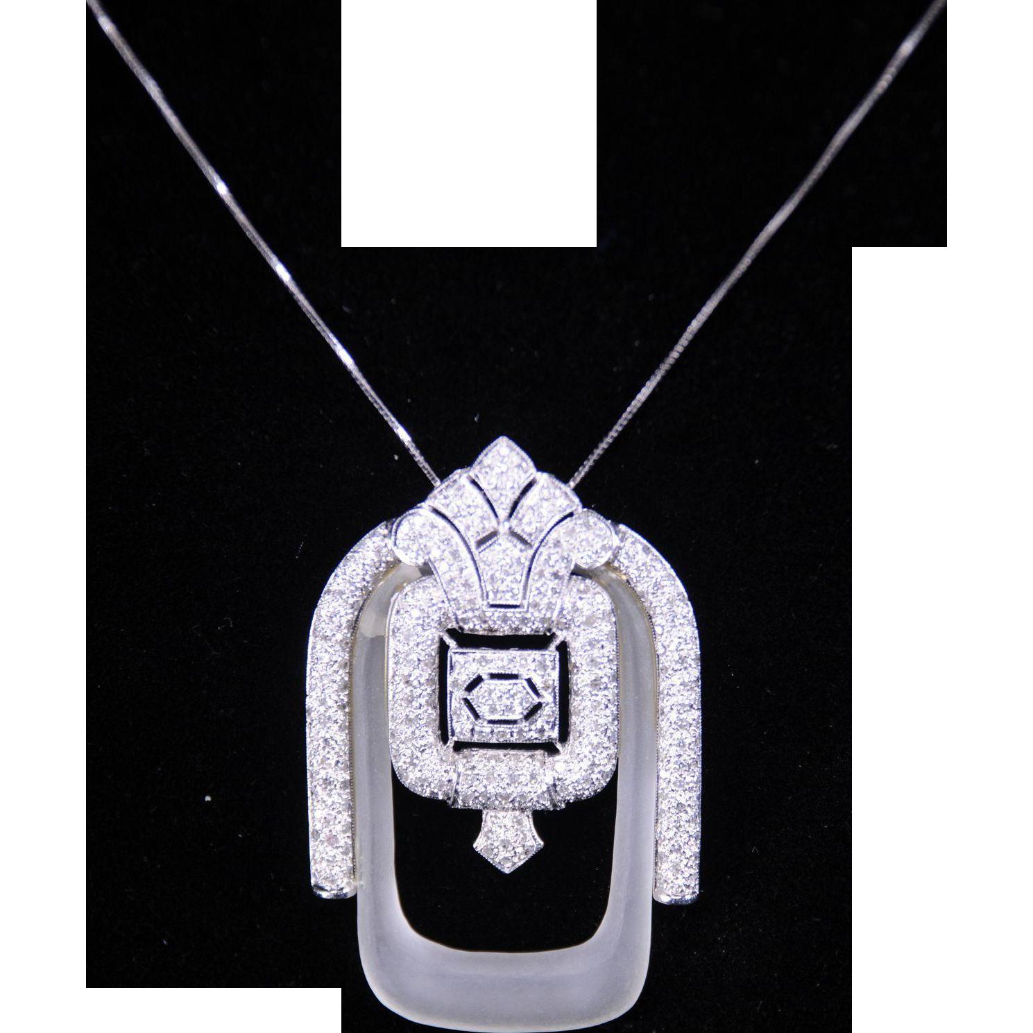 Fabulous Art Deco Style Pendant with 1.50 Carats of Diamonds