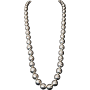 Vintage Mexican Graduated Sterling Bead Necklace