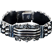 Lovely Wide Sterling Silver Bracelet