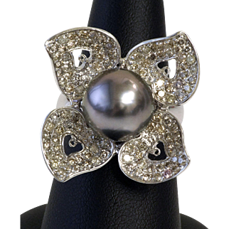 South Sea Pearl and Diamond Flower Ring in 18K White Gold