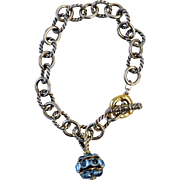 Retired David Yurman Round Link Bracelet with Blue Topaz Charm