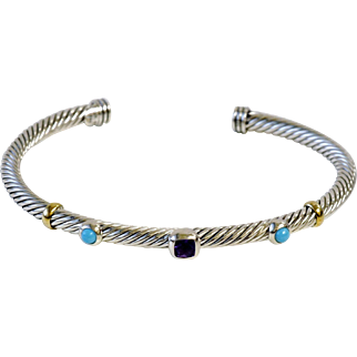 David Yurman Amethyst and Turquoise Cable Bracelet, 18K and SS