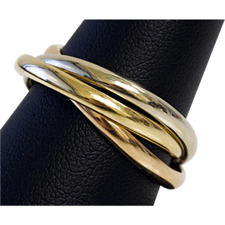 Vintage Tri-Colored Rolling Ring in 14K Gold