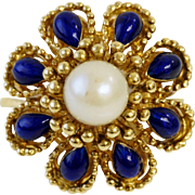 18K Gold Ring with Pearl and Enamel
