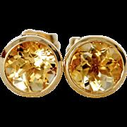 Sweet Butter Yellow Citrine Stud Earrings in 14K Gold