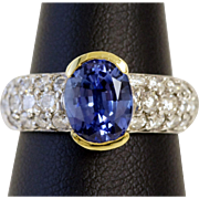 Divine Tanzanite and Diamond Ring in 18K Gold