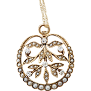 Dreamy Art Nouveau Diamond and Seed Pearl Pendant & Necklace