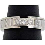 Tiffany Altas Ring in 18K White Gold with Diamonds, Size 4.5