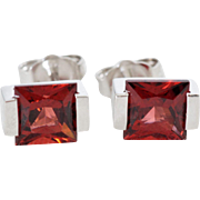 Garnet Earrings in 14K White Gold