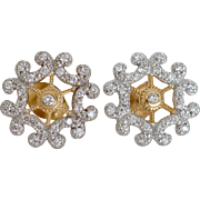 Holiday Festive Diamond and 18K Gold Earrings