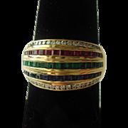 18K Band of Diamonds, Rubies, Emeralds, & Sapphires