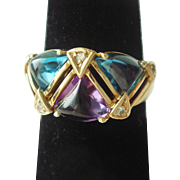 1970's Blue Topaz, Amethyst, & Diamond Ring