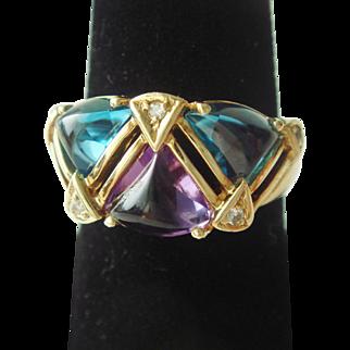 1970's Blue Topaz, Amethyst, & Diamond Ring