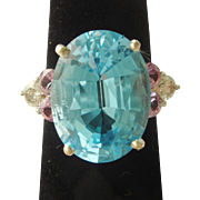 Fun Large Blue Topaz, Pink Tourmaline, and Diamond Cocktail Ring