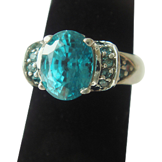 Blue Zircon and Blue Diamond Ring in 14K Gold