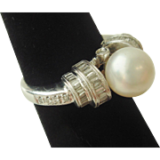 14K Pearl and Diamond 1980's Art Deco Style Ring