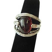 Huge Cabochon Cut Garnet Ring with Diamond Accents