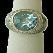 Pretty Blue Topaz, Diamond, and Enamel Ring in 18K Gold