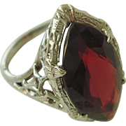 Big Marquise Garnet in 14K Detailed Setting