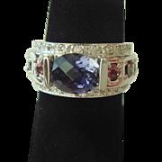Terrific Iolite, Pink Tourmaline, & Diamond Ring in 14K Gold