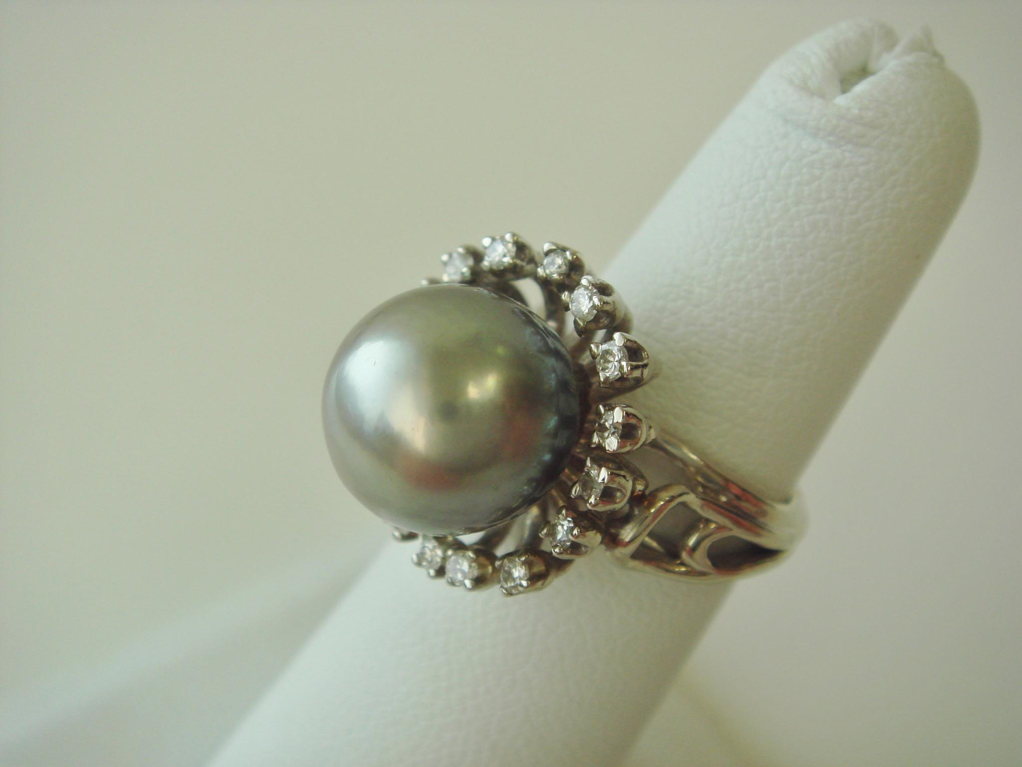 South Sea Pearl Ring With Halo Of Diamonds 14k Gold From