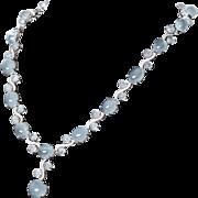 Ravishing 90 Carat Aquamarine & Diamond Necklace in 18K White Gold