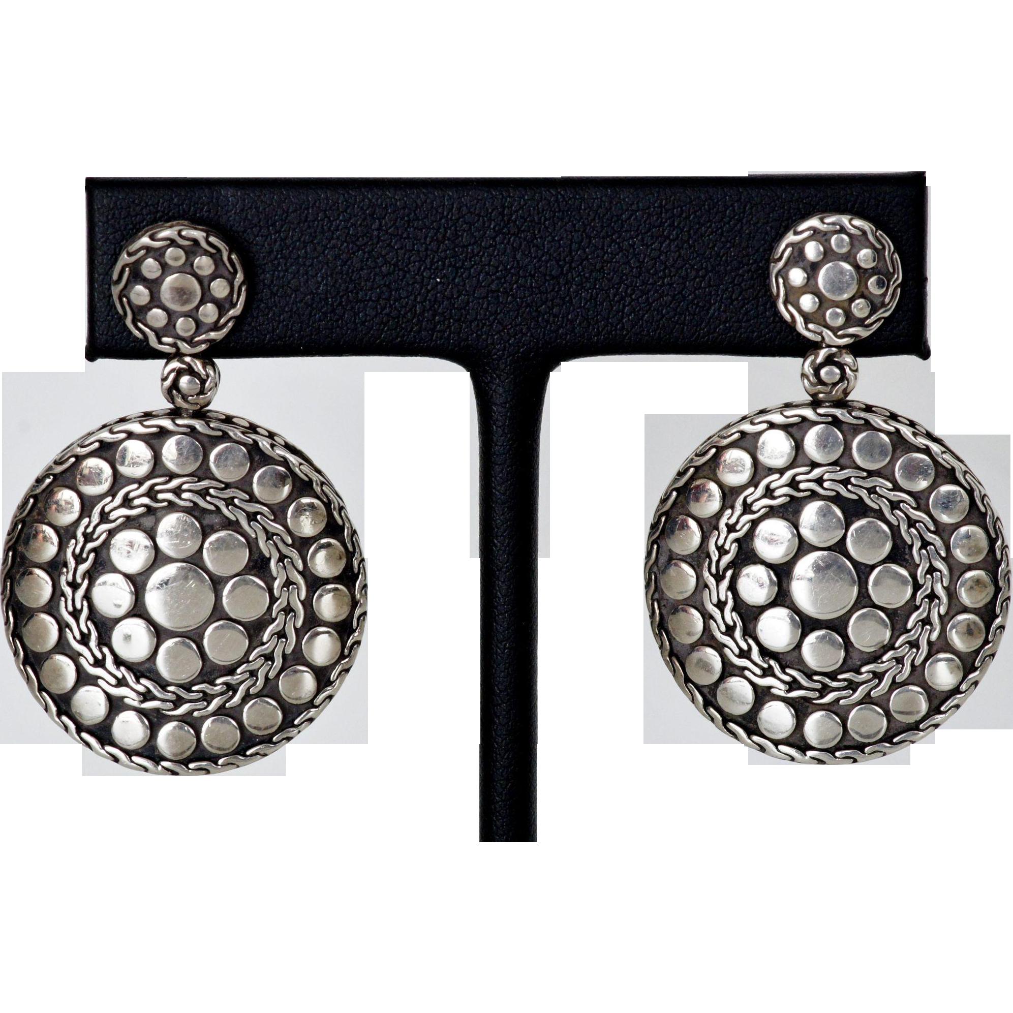 Retired John Hardy Large Dot Sterling Earrings