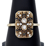 Adorable Art Deco Ring, Diamond and Sapphire, 14K