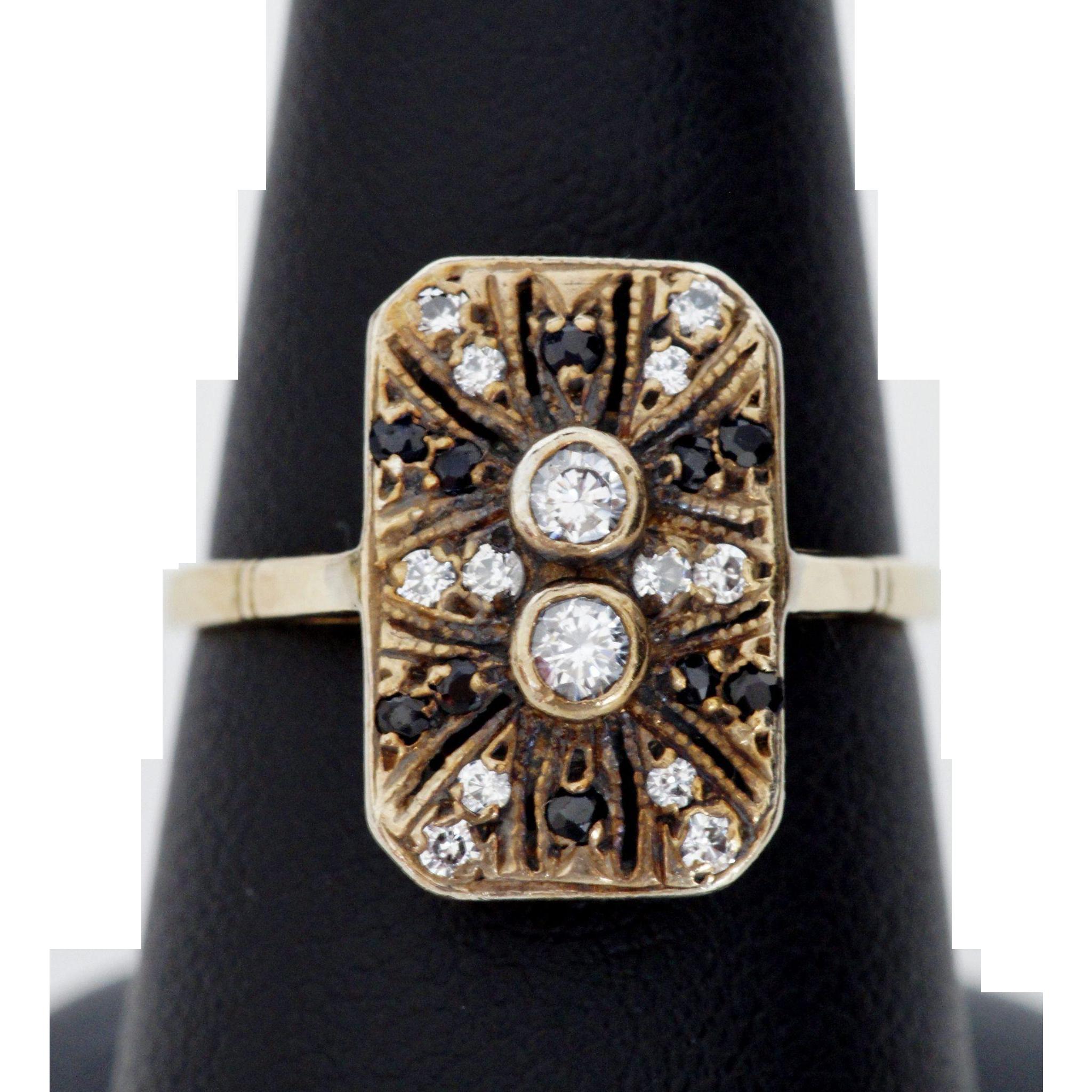 Adorable Art Deco Ring, Diamond and Sapphire, 14K