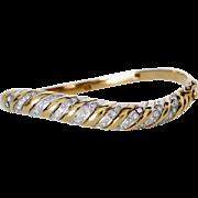 Rare Mod Assymetrical Bracelet, 14K Gold with Diamonds