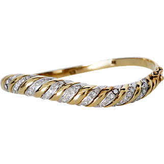 Rare Mod Assymetrical Bracelet, 14K Gold with Diamonds