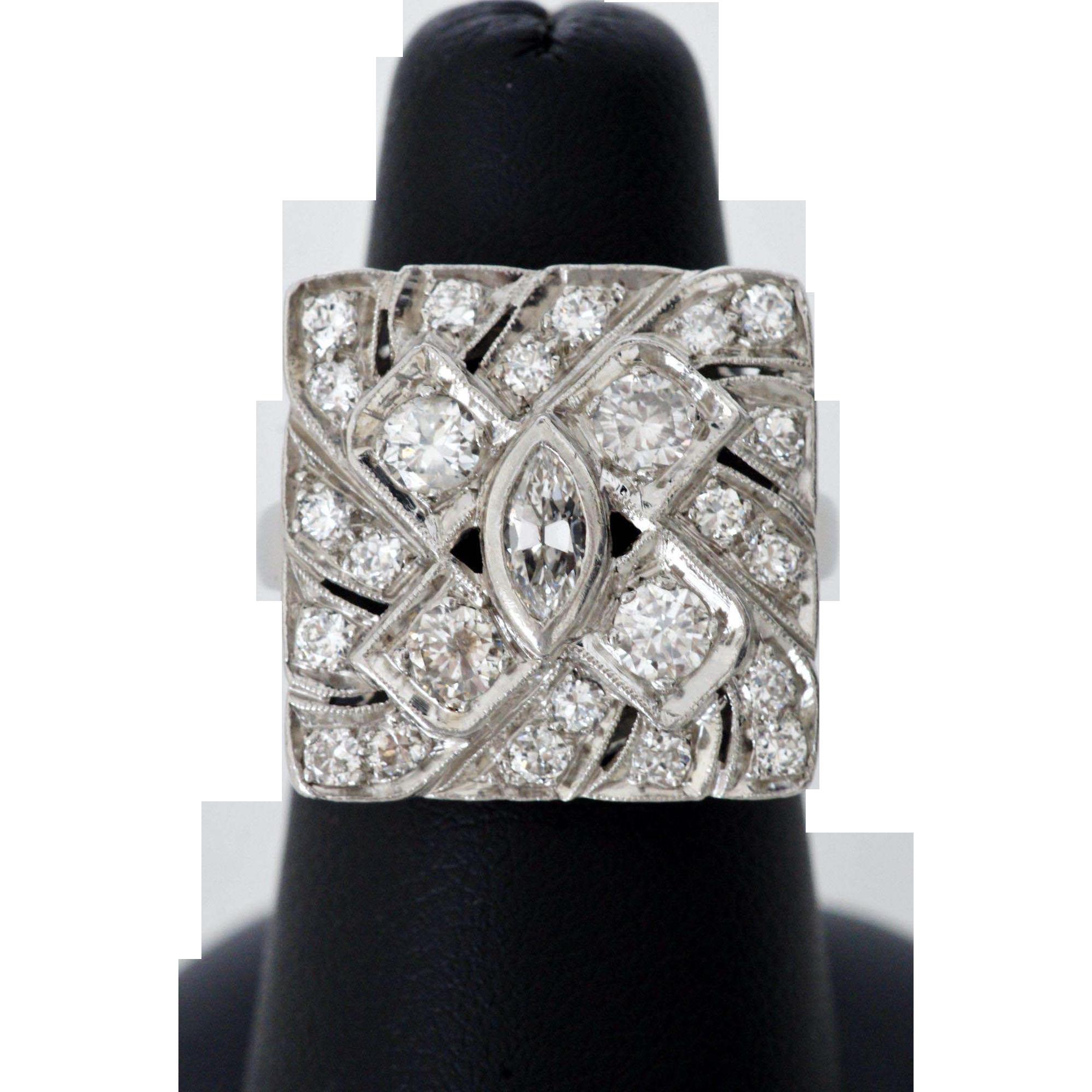 Exquisite Mid-Century Diamond and Platinum Cocktail Ring