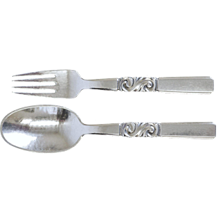 Georg Jensen Fork and Spoon in Scroll Pattern