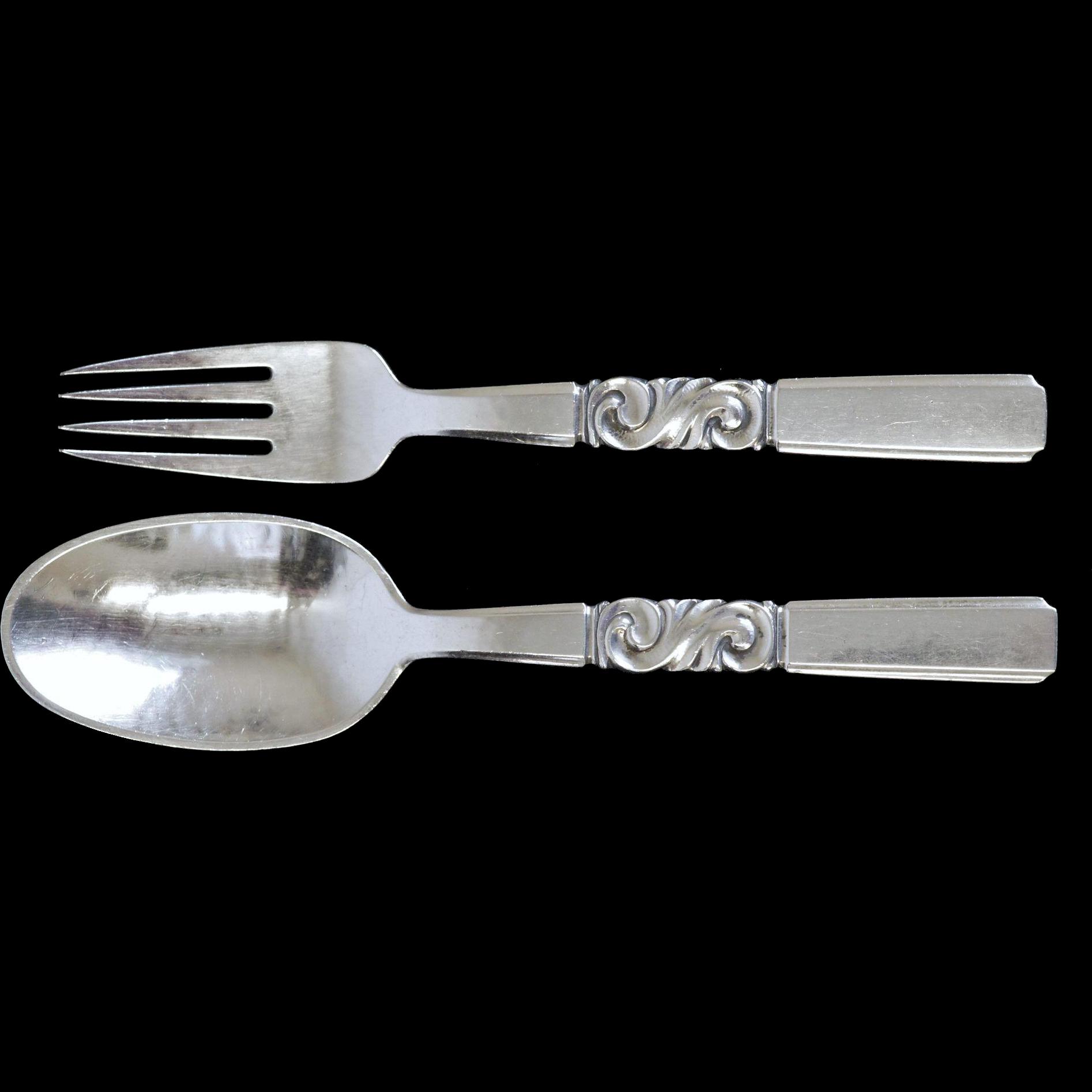 Georg Jensen Fork and Spoon in Scroll Pattern