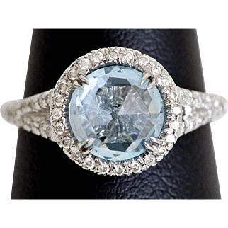 Old Rose Cut Blue Topaz in a Contemporary Setting w/Diamonds