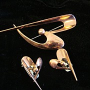 Modernist Brooch and Earring Set in Copper, by Orb