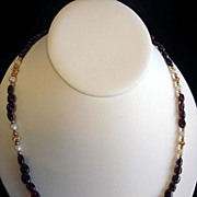 Classy Garnet & Cultured Pearl Necklace