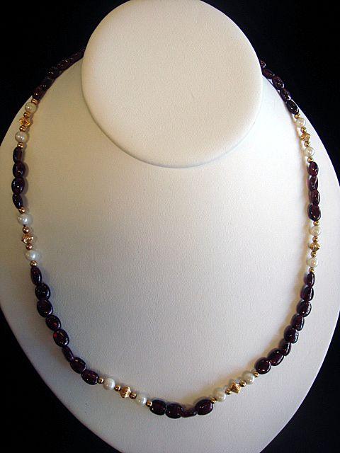 Classy Garnet & Cultured Pearl Necklace