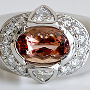 Spectacular Gentleman's Imperial Topaz & Diamond Ring, Platinum