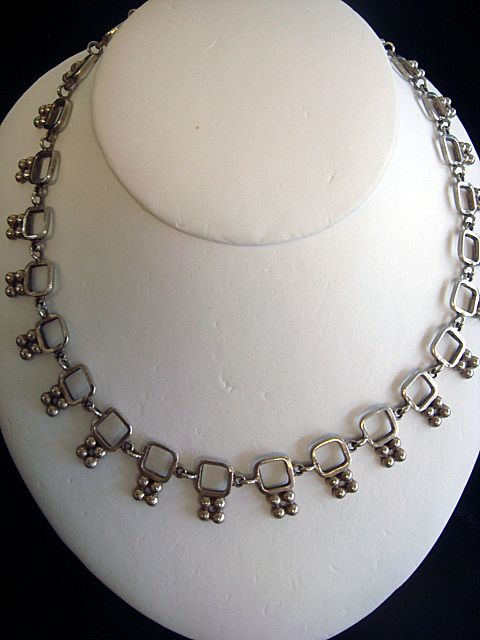 Unique Late 1930's Artist Signed Mexican Silver Necklace