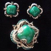 Corocraft Brooch & Earrings Set, 1950's