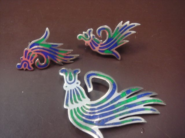 "Enamel and Sterling ""Creature"" Earring and Pin Set"
