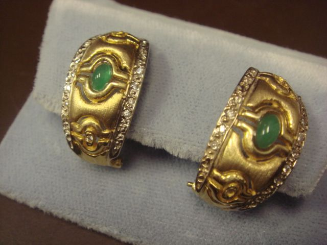 Unique 14K Gold Earrings with Emeralds and CZs