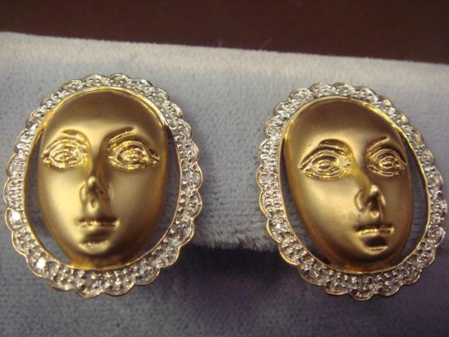 """Face"" Earrings in 14K Yellow Gold"