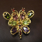 Charming Colorful Gemstone Butterfly Pendant or Slide