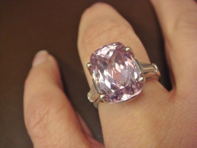 Pretty in Pink Kunzite Cocktail or Engagement Ring, in 900 Platinum